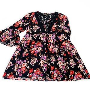 Forever 21 • Floral Lace Boho Bell Sleeve Dress